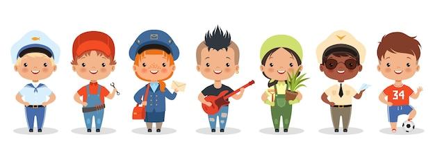 Professioni per bambini. personaggi di diverse professioni di bambini felici del fumetto. Vettore Premium