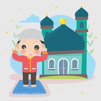 Carattere di ramadan bambini con moschea