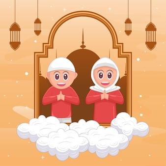 Bambini ramadan kareem fumetto illustrazione islamica