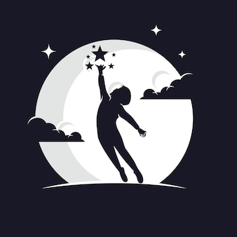Bambini che raggiungono la siluetta delle stelle contro la luna