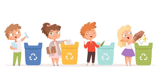 Bambini che riciclano i rifiuti. salvataggio della natura ecologia protezione dell'ambiente sicuro processi di riciclaggio sani personaggi dei cartoni animati.