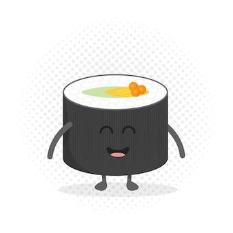 Carattere del cartone del menu del ristorante per bambini. modello per i tuoi progetti, siti web, inviti. rotolo di sushi carino divertente disegnato con un sorriso, gli occhi e le mani.