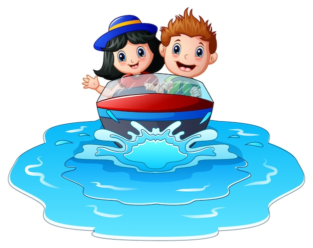 I bambini in sella a una barca a motore sulla spiaggia