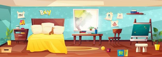 Cameretta interna accogliente con mobili, letto, pianta in un punto, luce solare dalla finestra e giocattoli per bambini.
