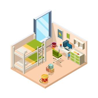 Stanza dei bambini. interno per bambini con divano scrivania e giocattoli, oggetti architettonici per adolescenti