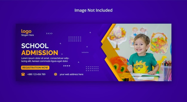 Bambini scuola ammissione banner facebook social media post copertina foto flyer design