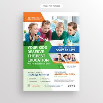 Volantino di ammissione all'istruzione scolastica per bambini o modello di progettazione di poster