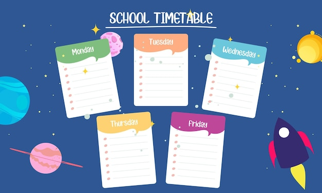 Kids school planner grafis orario scolastico per studenti