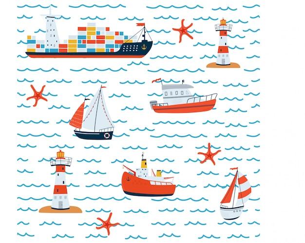 Reticolo senza giunte del mare dei bambini con nave, barca a vela, faro, barca su priorità bassa bianca in stile cartone animato.