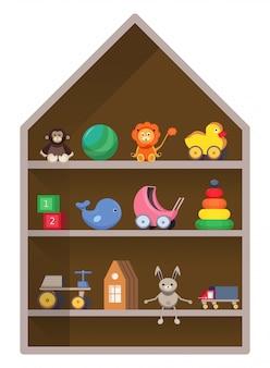 Negozio per bambini, mensola con giocattoli. illustrazione infantile colorata.