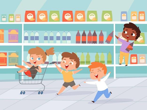 Bambini nello shopping. la madre con i bambini acquista personaggi attivi del prodotto