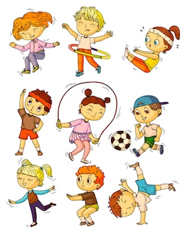 Sport per bambini. bambini che si allenano, che fanno attività sportive insieme. bambini felici che si allenano, esercitano, fanno ginnastica, si accovacciano, saltano, giocano a calcio, ballano la collezione di stili di vita dell'infanzia