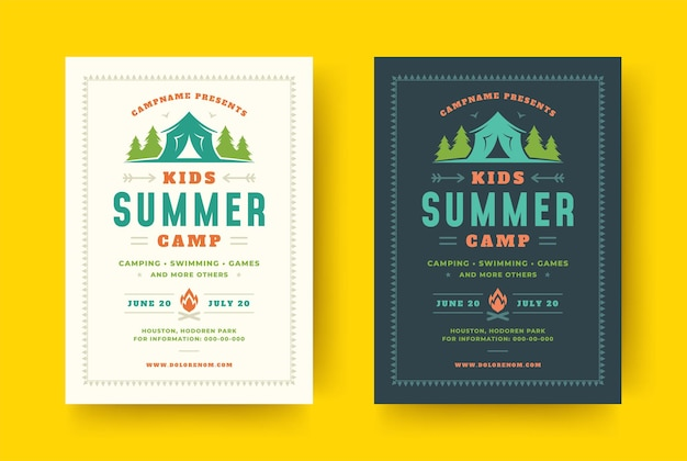 Manifesto del campo estivo per bambini o modello di progettazione di tipografia retrò evento flyer e paesaggio forestale e tenda