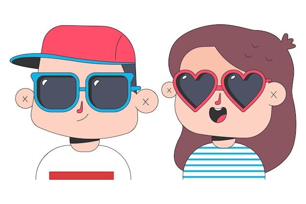 Bambini in occhiali da sole personaggi dei cartoni animati di ragazzo e ragazza isolati