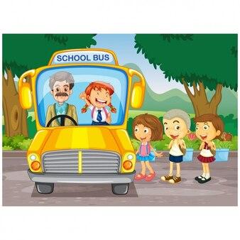 I bambini che prendono lo sfondo scuolabus
