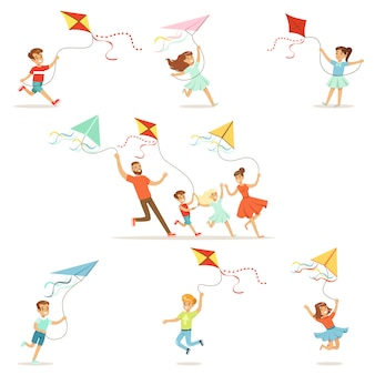 Bambini e genitori che corrono con l'aquilone felici e sorridenti. cartone animato dettagliate illustrazioni colorate