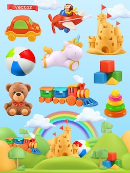 Set 3d di giocattoli per bambini Vettore Premium
