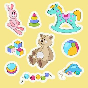 Set di adesivi colorati del fumetto di giocattoli per bambini.