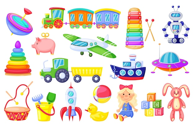 Giocattoli per bambini cartone animato razzo treno ragazza bambola anatra peluche coniglietto alfabeto cubi set