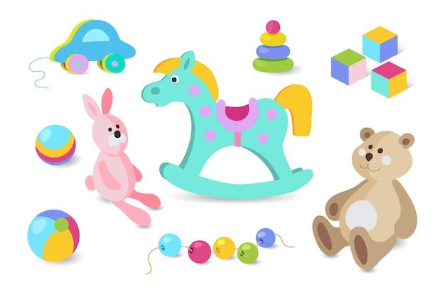 Set di icone colorate in stile cartone animato di giocattoli per bambini.