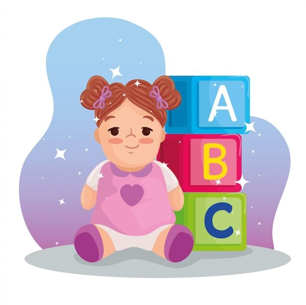 Giocattoli per bambini, bambola carina e cubetti di alfabeto con disegno di illustrazione vettoriale lettere a, b, c
