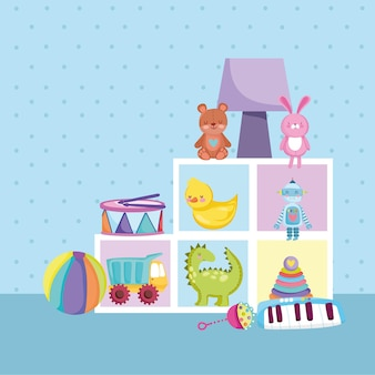Mobili per bambini giocattoli orso coniglio