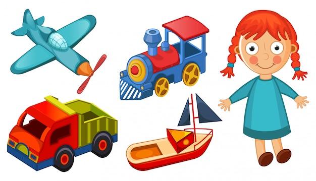 Giocattoli dei bambini isolati sull'illustrazione bianca del fondo