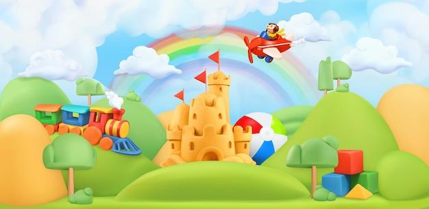 Illustrazione 3d del paesaggio dei giocattoli dei bambini
