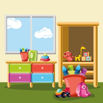 Interno della stanza della scuola materna dei giocattoli dei bambini