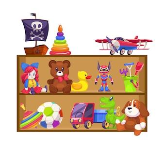 Scaffali di giocattoli per bambini. giocattolo negozio per bambini ripiano in legno bambola orso bambino gioco aereo colorato piramide piano sonaglio auto coniglio anatra piatta
