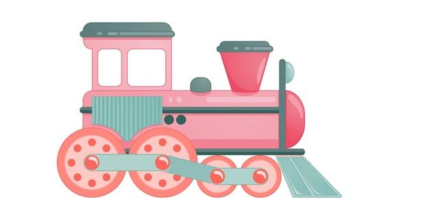 Giocattolo del treno per bambini in stile cartone animato. illustrazione vettoriale isolato su sfondo bianco.