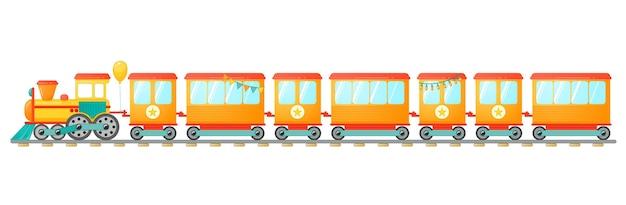 Giocattolo del treno per bambini con vagoni arancioni in stile cartone animato. illustrazione vettoriale isolato su sfondo bianco.