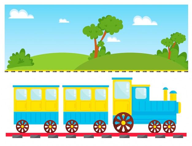 Giocattolo del fumetto di vettore del treno dei bambini con divertimento locomotivo variopinto del gioco del trasporto della ferrovia dei blocchi