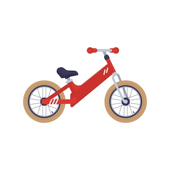 Bambini a due ruote kickbike o equilibrio bicicletta piatta illustrazione vettoriale isolato