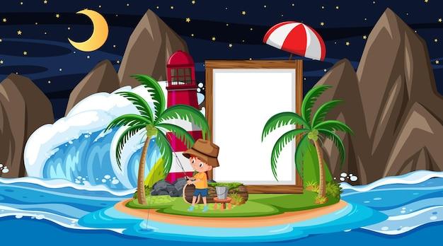Bambini in vacanza sulla scena notturna della spiaggia con un modello di banner vuoto