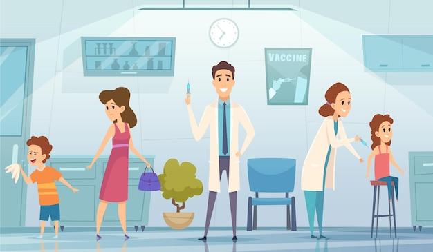 Vaccinazione per bambini. dottore in clinica farmaco per bambini fumetto sfondo concetto di assistenza sanitaria. illustrazione vaccinazione e prevenzione sanitaria Vettore Premium