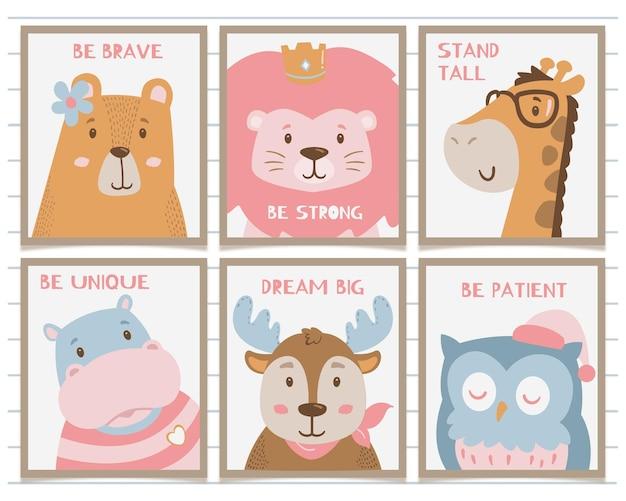 Illustrazione degli animali di arte della parete dei bambini