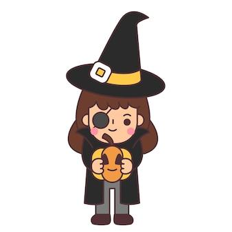 I bambini indossano costumi di halloween.