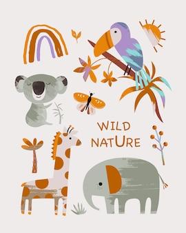 Bambini con simpatici animali natura selvaggia