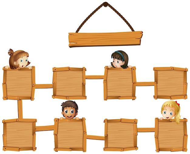 Bambini e tavole di legno