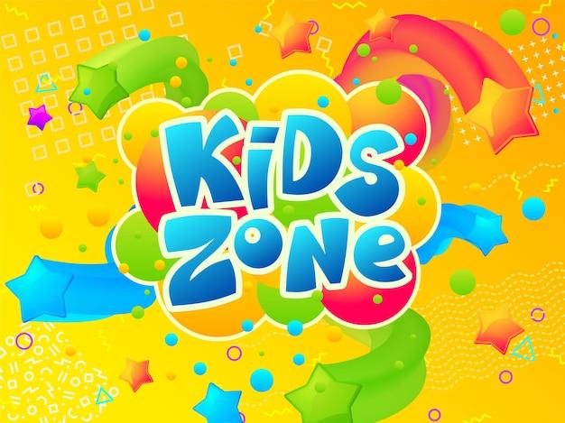 Zona bambini. striscione dell'area giochi da colorare, camera dei bambini divertente dei cartoni animati o poster del parco giochi. intrattenimento o negozio di giocattoli sfondo vettoriale. zona di educazione infantile in negozio, illustrazione dell'area del luogo dell'emblema