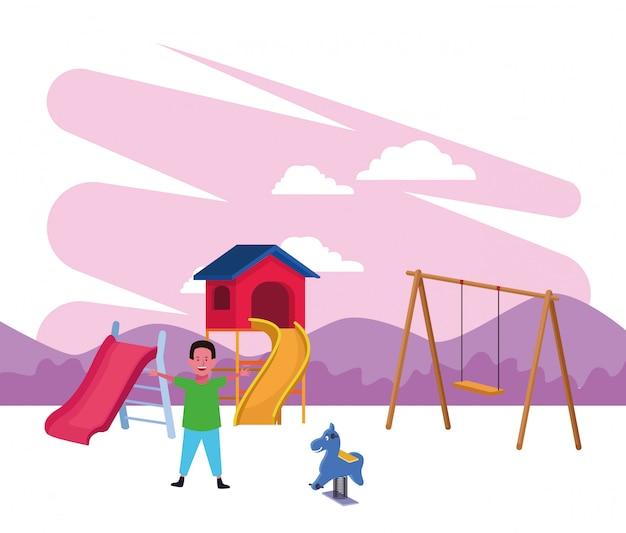 Zona bambini, ragazzo felice con altalena scivolo e parco giochi cavallo primavera