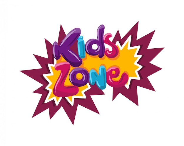 Logo della zona bambini. sala giochi per bambini Vettore Premium