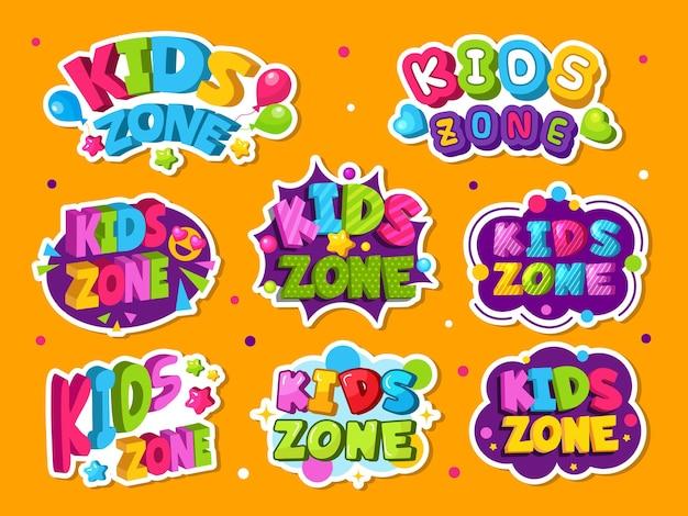 Logo della zona bambini. emblema colorato per la stanza dei bambini del gioco che gioca le etichette di stile della decorazione della zona. illustrazione sala giochi e etichetta di gioco, kidzone colorato