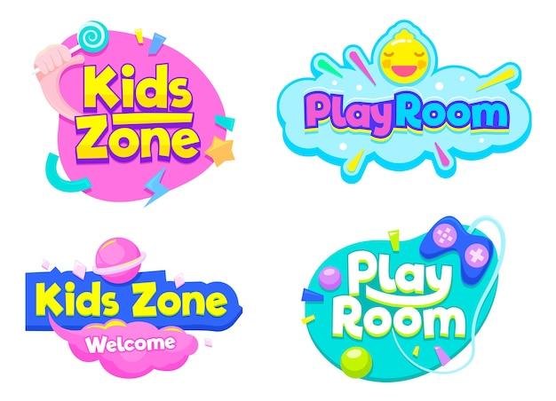 Insieme del segno del testo della stanza dei giochi della zona dei bambini
