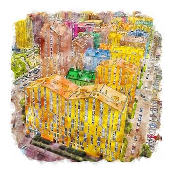 Illustrazione disegnata a mano di schizzo dell'acquerello della città di kiev ucraina
