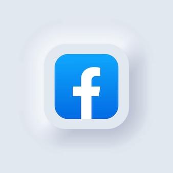 Kiev, ucraina - 19 marzo 2021: set di icone di facebook. icone dei social media. insieme realistico. interfaccia utente bianca neumorphic ui ux. stile di neumorfismo.