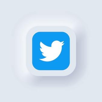 Kiev, ucraina - 19 marzo 2021: set di icone di twitter. icone dei social media. insieme realistico. interfaccia utente bianca neumorphic ui ux. stile di neumorfismo.