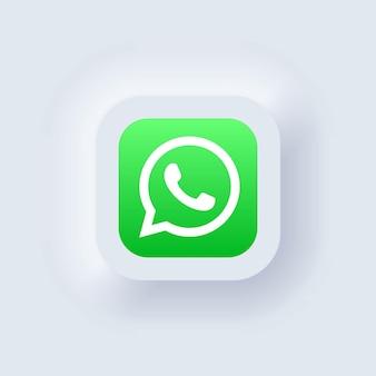 Kiev, ucraina - 19 marzo 2021: set di icone di whatsapp. icone dei social media. insieme realistico. interfaccia utente bianca neumorphic ui ux. stile di neumorfismo.
