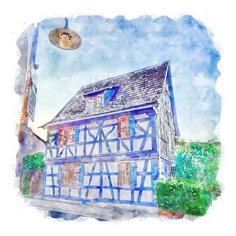 Illustrazione disegnata a mano di schizzo ad acquerello di kilianstadten germania